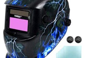 Yorbay - Casco de soldadura Soldadores máscara de oscurecimiento automático de solar con 5 lentes de repuesto, relámpago cráneo, reutilizable